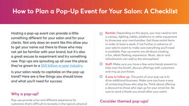 Top of salon pop-up event checklist