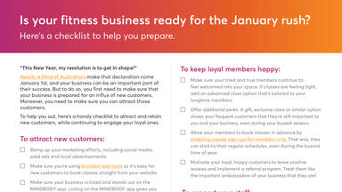 Portion of checklist to get your fitness business ready for the January rush