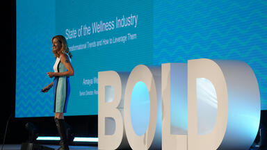 Amaya Weddle presenting the state of the wellness industry at BOLD 2019
