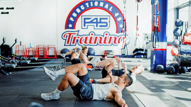 men working out at F45 gym