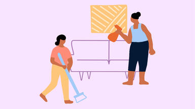 Drawing of two people cleaning a waiting area with a sofa and painting