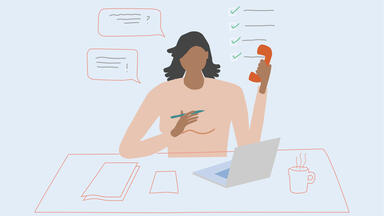 Drawing of a woman at a desk with computer, phone, coffee and notebook