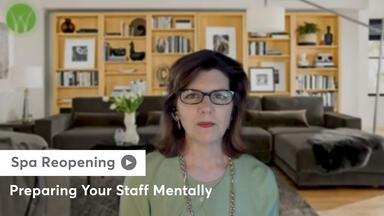 Still of Lisa Starr sharing how spa owners can help prepare their staff mentally