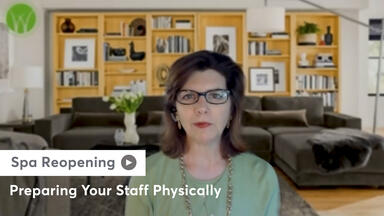 Still of Lisa Starr sharing advice on how you can prepare your staff, physically, to return to the spa