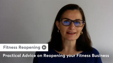 Webinar presenter with practical advice on fitness reopening