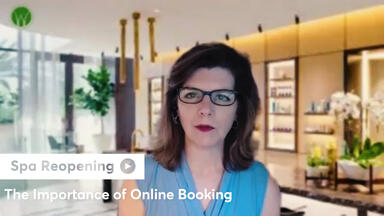 A screenshot of spa consultant Lisa Starr talking about the importance of online booking