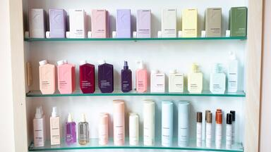 salon and spa products on shelf in salon or spa