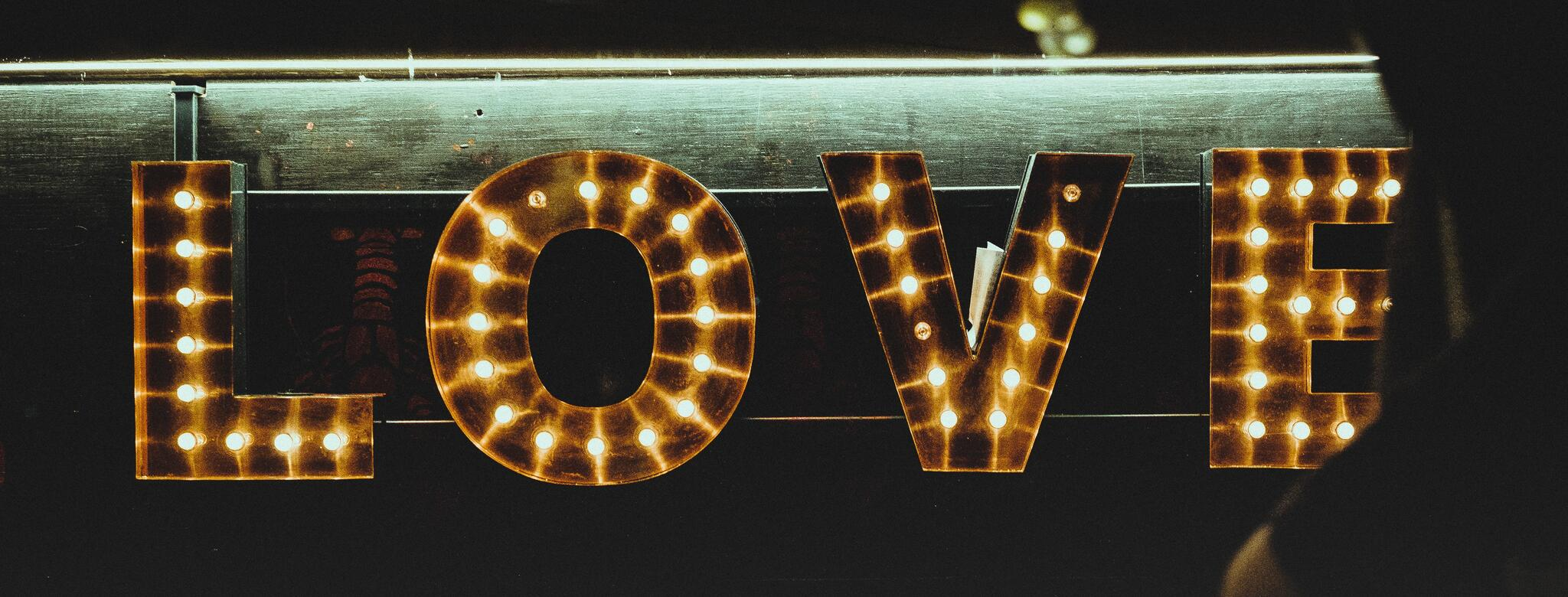 LOVE sign in lights