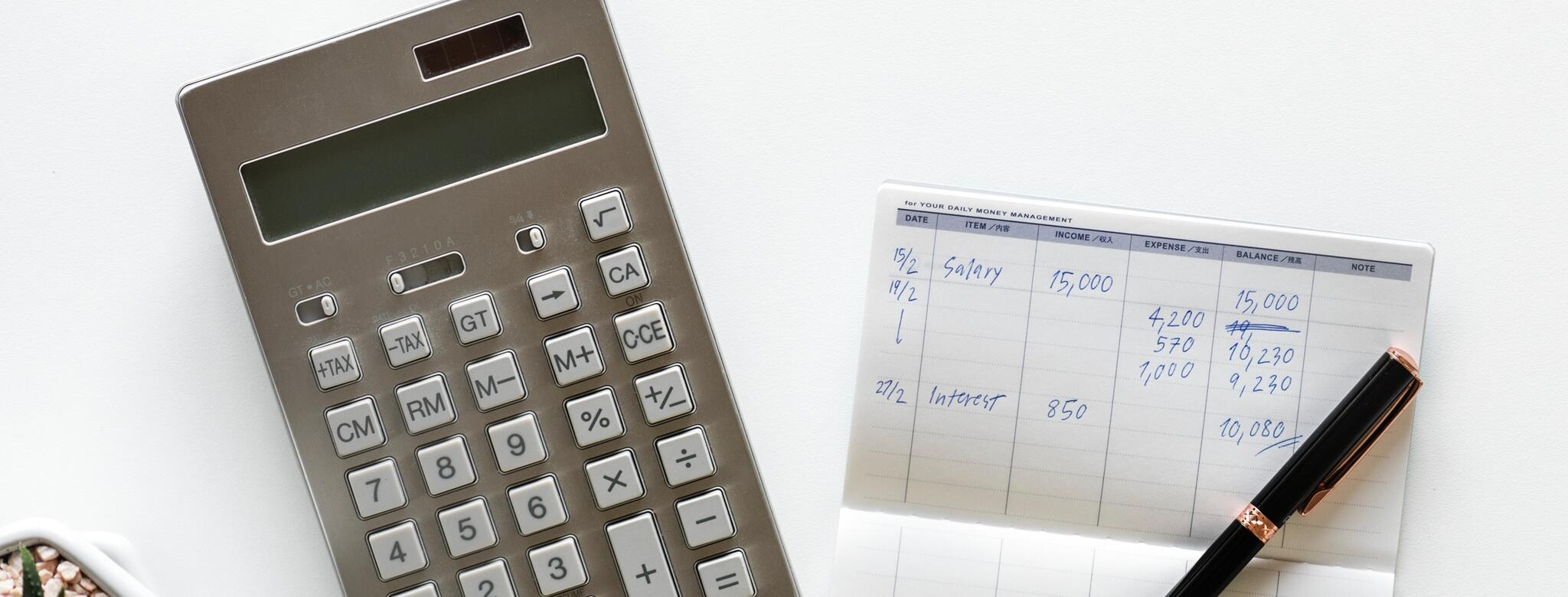 Calculator, pen, cash, succulent, and account balance on white background