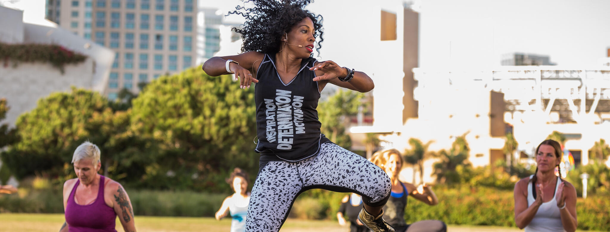 Woman teaching hip hop fitness