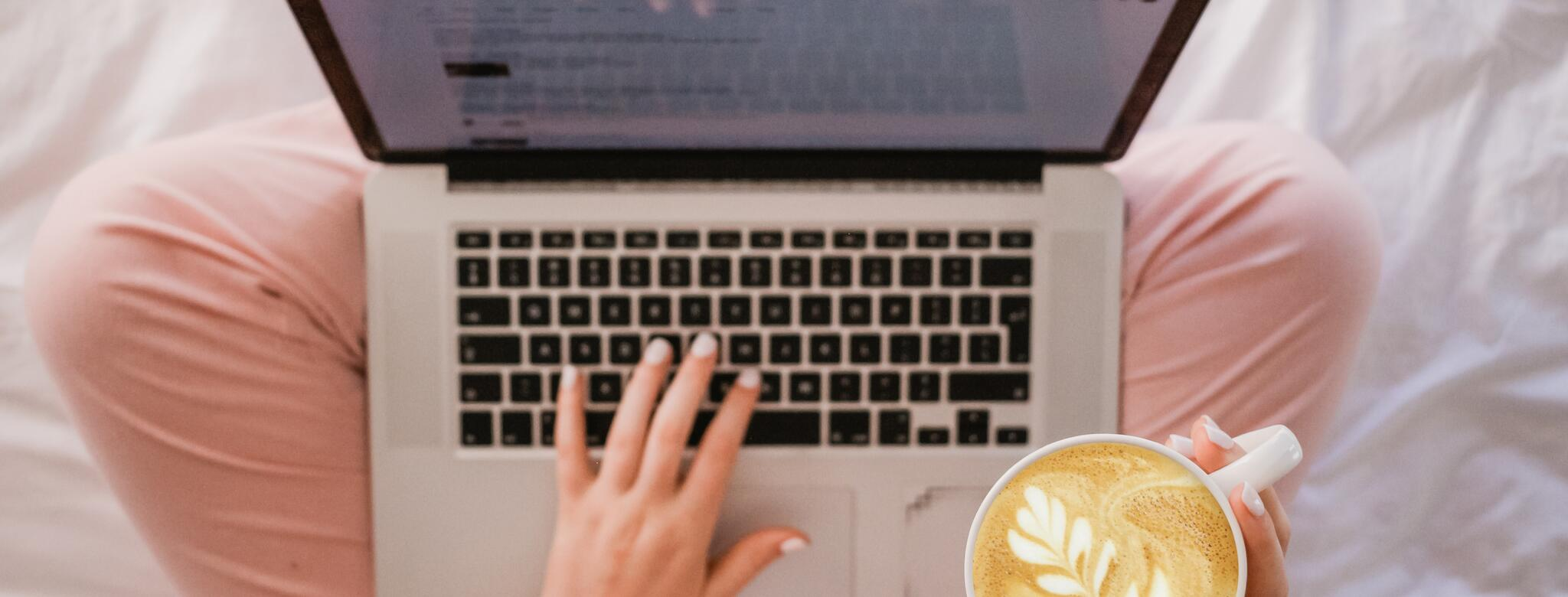 woman on laptop with latte