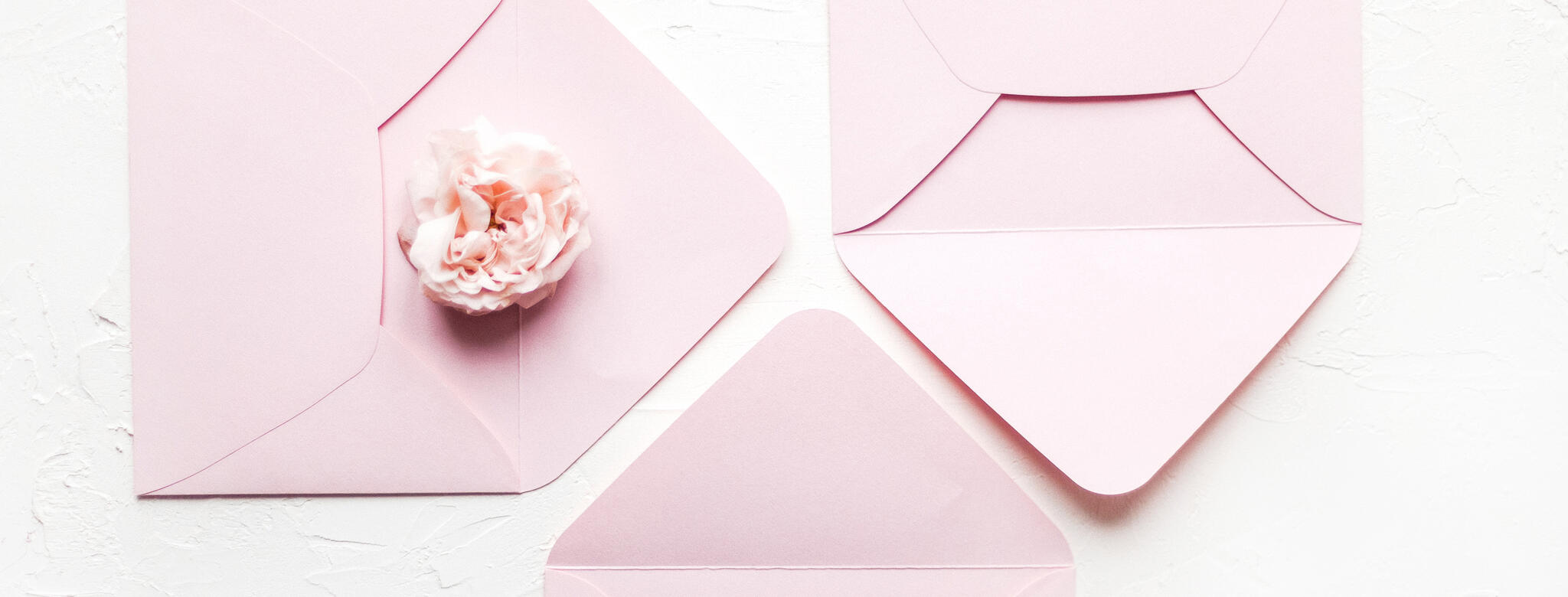 pink envelopes with pink flower on white background