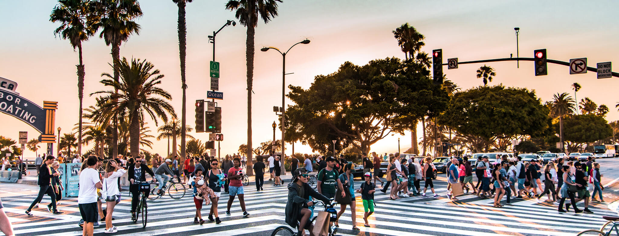 crosswalk in los angeles with palm trees and people