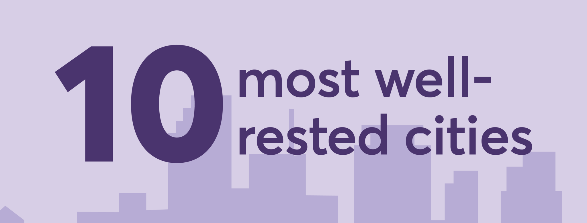Top 10 most well-rested cities in front of purple city skyline