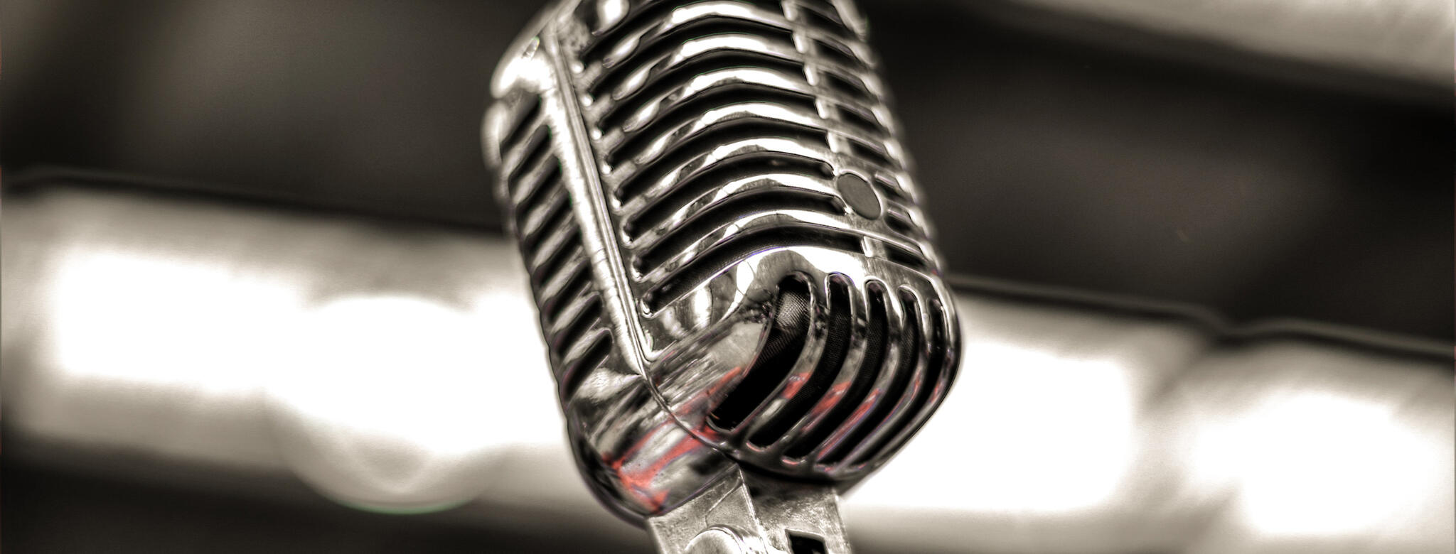 A microphone in front of lights