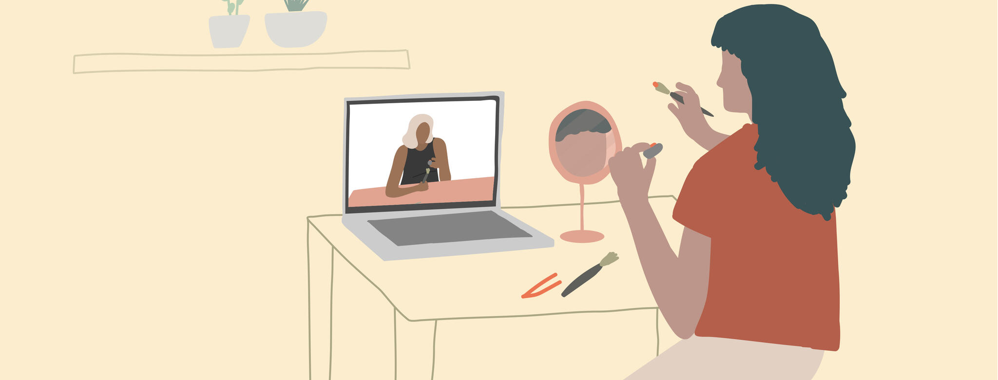 Drawing of a woman at a vanity doing a virtual makeup tutorial