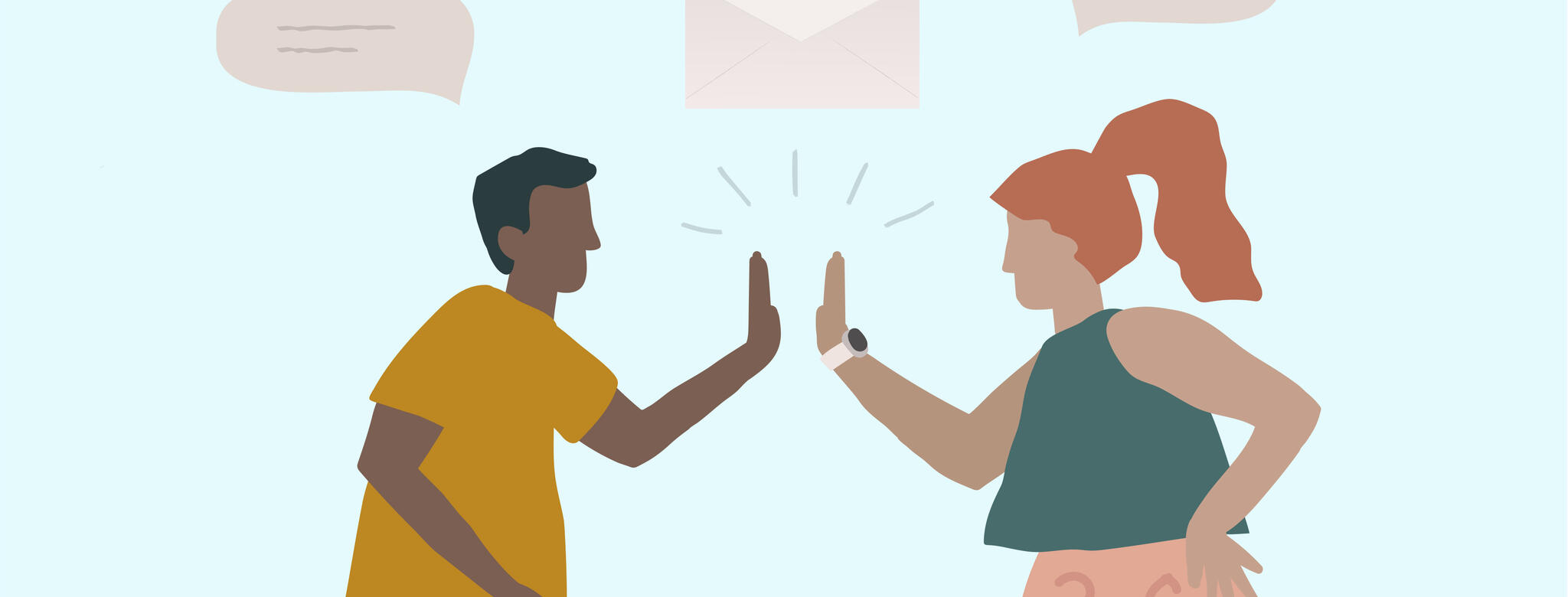 Drawing of two people giving a high five below email and text icons