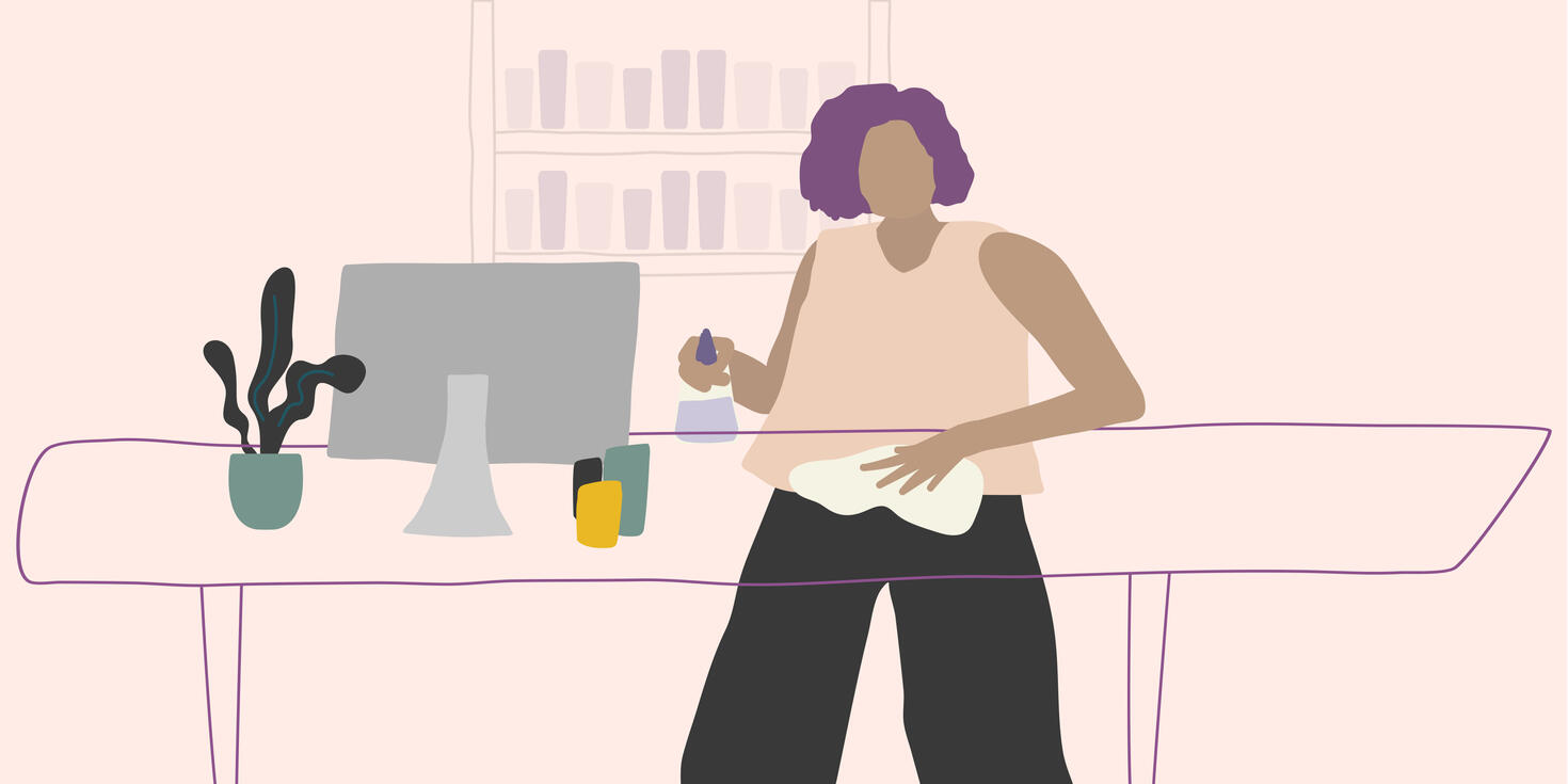 Drawing of a woman disinfecting the front desk of a salon