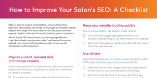 Top of checklist listing ways salons can improve search engine ranking results