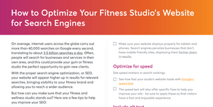 Portion of checklist for fitness studio websites to improve SEO rankings
