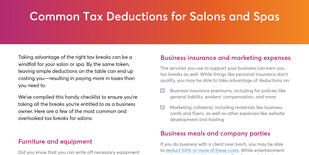 Common tax deductions for salons and spas checklist