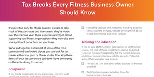 Tax breaks for fitness studios and gyms checklist