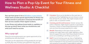 Checklist for hosting a pop-event at a fitness and wellness business