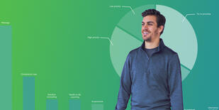 Man in front of green background with integrative health graphs