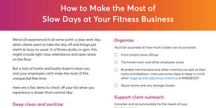 How to Make the Most of Slow Days at Your Fitness Business Checklist