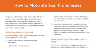 Preview of the checklist on how to motivate your franchisees