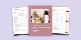 Preview of several pages of the customer experience audit for salons and spas