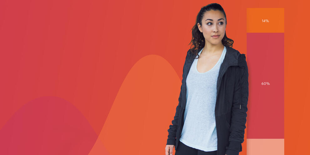 Woman wearing workout clothes in front of chart imagery on red background