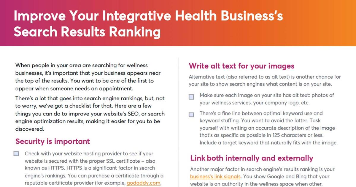 Improve Your Integrative Health Business's Search Results