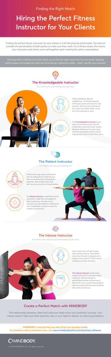 Infographic on hiring the perfect fitness instructor for your clients