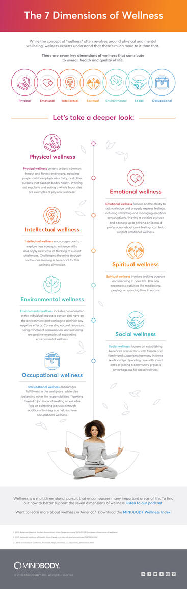 The seven dimensions of wellness infographic