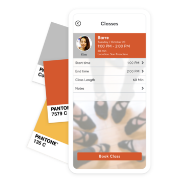 Color palette and mobile device with custom barre booking app