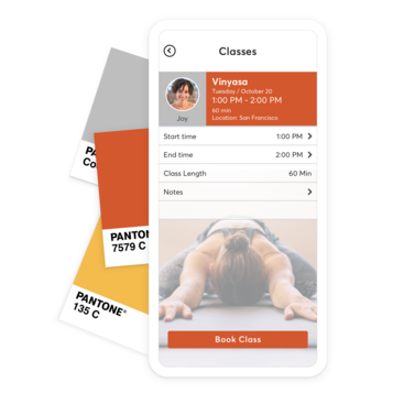 Color palette and mobile device with custom yoga booking app