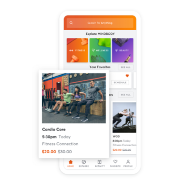 Mobile device with affiliate gym class scheduling through the MINDBODY app