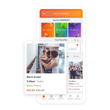 Mobile device with barre class scheduling through the MINDBODY app
