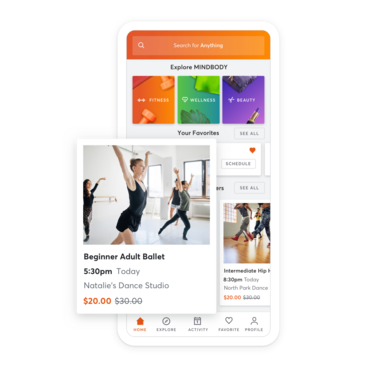 Mobile device with dance studio class scheduling through the MINDBODY app