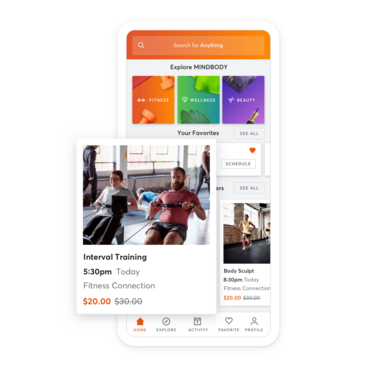 Mobile device with group training class scheduling through the MINDBODY app