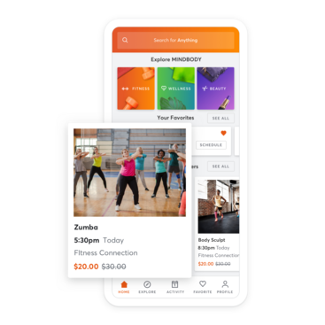 Mobile device with health club class scheduling through the MINDBODY app