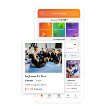 Mobile device with martial arts class scheduling through the MINDBODY app