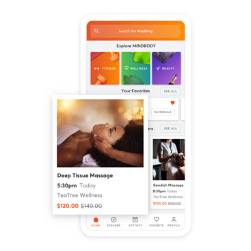 Mobile device with massage scheduling through the MINDBODY app