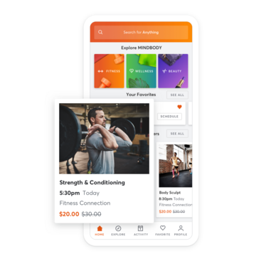 Mobile device with fitness class scheduling through the MINDBODY app