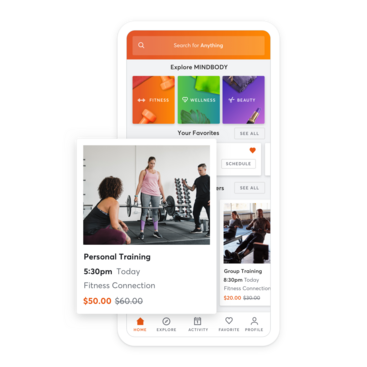 Mobile device with personal trainer scheduling through the MINDBODY app