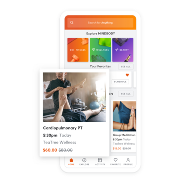 Mobile device with physical therapy appointment scheduling through the MINDBODY app
