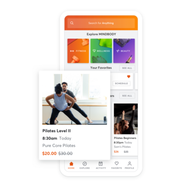Mobile device with personal training scheduling through the MINDBODY app