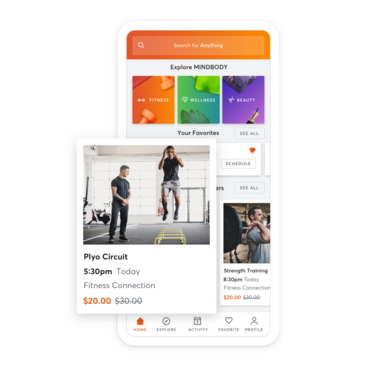 Mobile device with sports training facility scheduling through the MINDBODY app