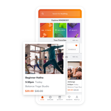 Mobile device with yoga class scheduling through the MINDBODY app